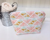 Arizona Print Fabric Cosmetic Bag - Aztec Print Cosmetic Pouch - Small Fabric Makeup Bag - Zippered Pouch