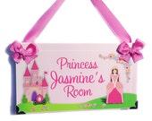 girls pink princess room nursery decor - princess castle and carriage bedroom door sign - fairytale garden - P624 Girls Christmas Gift