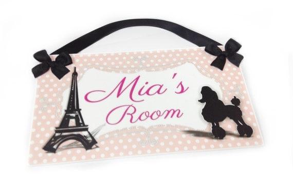 Personalized Paris Themed Teens Girls Door Sign By Kasefazem
