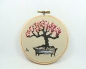 Japanese Calligraphy with Hand Embroidered Bonsai Tree - Prunus mume, tree,  wall hanging, 4 inch, home decor, custom work available