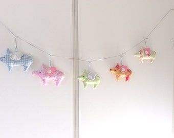 Pig-garland for decoration, Party decoration, Baby nursery Decoration, Birthday Decorations
