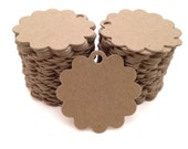 100 Count Scalloped Circle Chipboard hang tags, price tags, favor tags, crafting tags