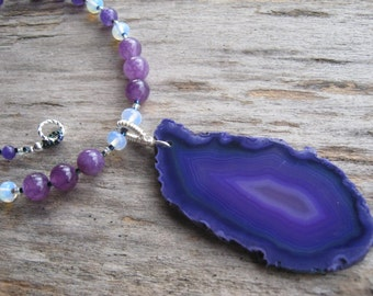 Purple Agate Necklace, LARGE Geode Slice Necklace, Sterling Silver, Beaded Opalite Gemstone Necklace, Statement Necklace, READY to SHIP
