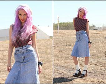 Vintage 80s Acid wash stonewash high waist denim jean skirt Levis XS S