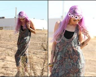 Vintage 80s  Knit Jumpsuit romper floral Harem Pants Suit Slouchy XS S M L