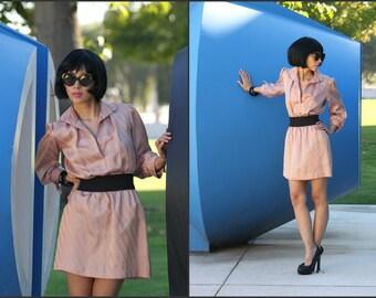 Vintage 70s Secretary dress Puff Sleeve Mini Mod Squad XS S M
