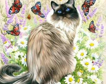 Ragdoll Cat Print Amongst The Butterflies by Irina Garmashova
