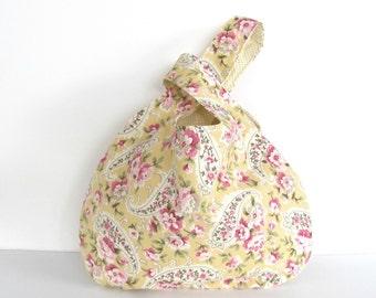 Knitting Project Bag, Crochet Bag, Medium Yarn Tote Bag - Japanese Knot Bag Wristlet, Yellow Pink Cottage Roses