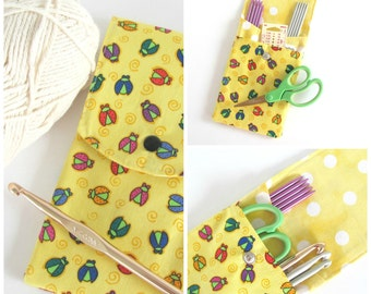 Knitting Needle Holder, Knitting Needle Case, Crochet Hook Case Ladybugs on Yellow, DPN Organizer Storage