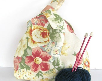 Floral Yarn Bag, Large Knitting Project Bag Self Closing Yellow and Rose Japanese Knot Wristlet Knitting Bag Women's Accessories