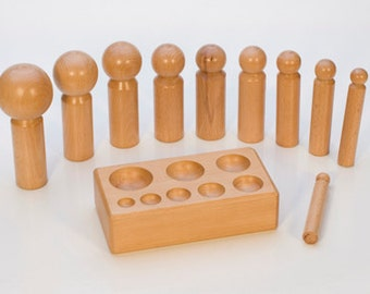 LARGE WOODEN DAPPING Set with 10 Punches