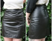 Black Leather High Waisted Pencil Skirt Size 4 Size 6