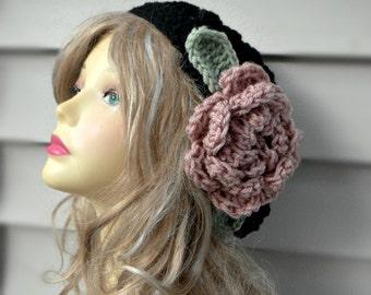 Crochet Slouchy Hat Slouchy Flower Hat Womens Crochet Hat Crochet Slouchy Beanie  Women Accessories Fashion Accessories Winter Hat