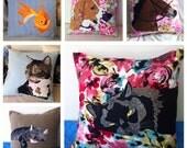 Custom pet portrait pillow cover