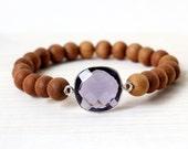 Purple Amethyst Sandalwood Stretch Bracelet - Modern Boho Stretch Bracelet