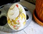 Mid Century French Country Noritake Japan Chickens Porcelain Easter Egg Ornament Vintage 1973 Americana Folk Art Prairie Farmhouse Cottage