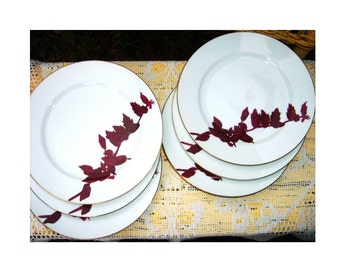 Vintage 1950s Mid Century Danish Modern Art Deco Bamboo Japanese Porcelain Lunch Dessert Plates Set of 6 Handpainted Burgundy Red Gold White