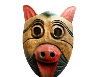 Rustic Industrial Wood Tribal Hand Carved Native Bear Pig Mask Vintage Mid 1900s Painted Woodsy Primitive Lodge Folk Art Man Cave Wall Decor