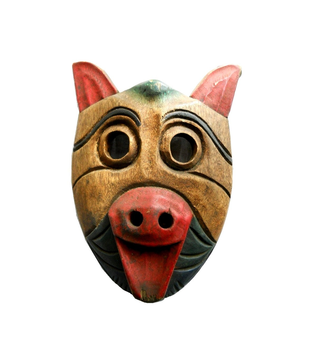 Uncategorized Pig Mask rustic industrial wood tribal hand carved native bear pig mask