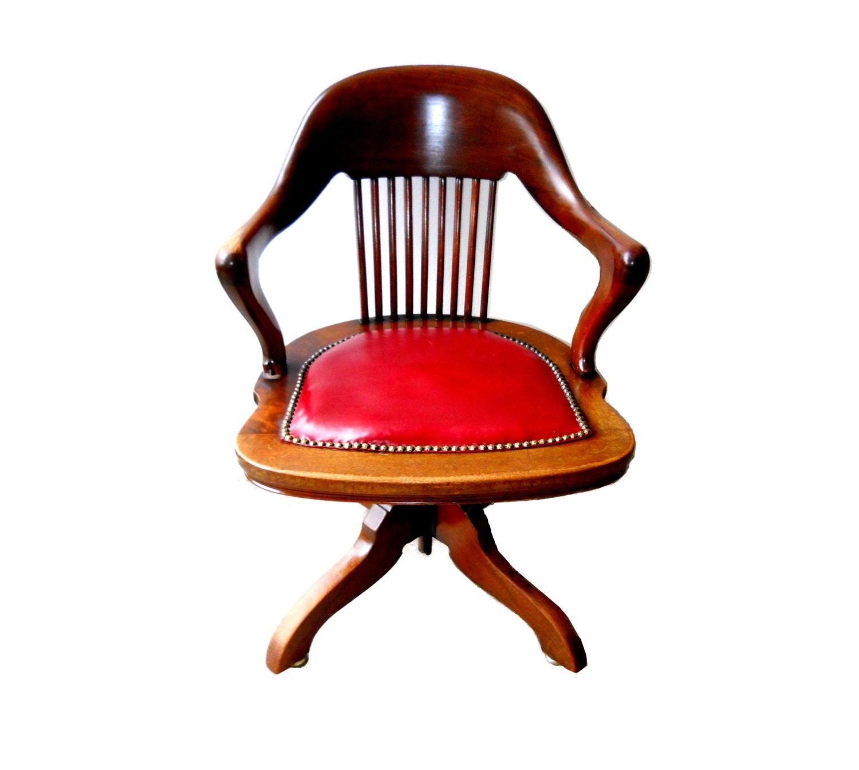 Antique Executive Swivel Desk Arm Chair Danish Modern Rare Red