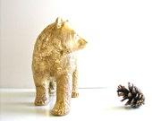 GOLD Bear Table top Animal Statue in gold:  kids room woodland animal nursery decor home office desktop decor modern lodge unique gift