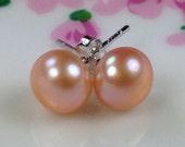 Super Stunning Blush Tan Natural Freshwater Pearl Earrings, Sterling Silver Stud Earrings, Wedding Bridal Flower Girl Bridesmaid Gift