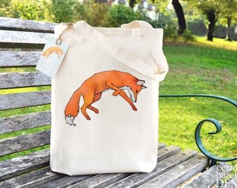 Leaping Fox Tote Bag, Ethically Produced Shopping Bag, Reusable Shopper Bag, Cotton Tote, Shopping Bag, Eco Tote Bag