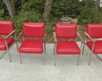 4 Vintage Mid Century Modern Office Steel Chairs United Chair Co 1970's Red Vinyl