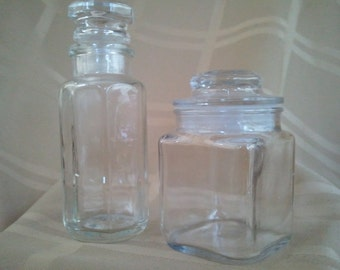Glass Jars Apothecary Bottles Jars Set of 2 Sealing Caps Spice Jars Plug Lid