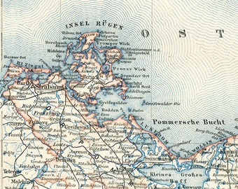 Baltic coast map German Baltic map  Polish Baltic  Pomerania map 19th century coastal map Germany : Antique 1890s lithograph  old book plate