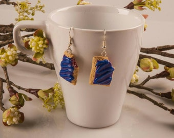 Wildberry Poptart earrings, Miniature Food Jewelry