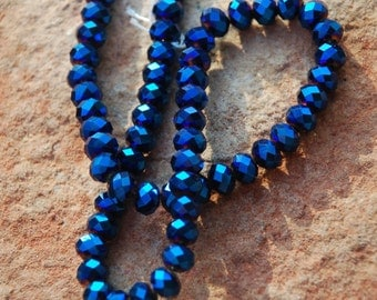 Lovely Metallic Blue faceted rondelle crystals, Deep Blue, 8 mm beads, 33 metallic beads, Rondelles