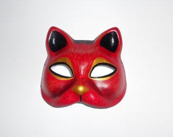 paper mache masks  red cat mask