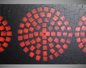SALE Painting Black Red Painting wall art Abstract Acrylic Painting Squares large canvas Modern Art Wall deco 48 x 24 by ilonka