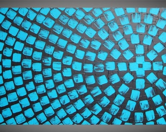 """Painting Art Black Turquoise Large Canvas Art Squares Painting Canvas Art Wall Art Deco 48"""" x 24"""" Abstract Large Painting by ilonka"""