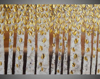 Birch Tree Painting Gold Abstract Acrylic Painting on Canvas Forest Landscape Textured Brown 3D Art Deco 48 x 24 Made to Order by ilonka