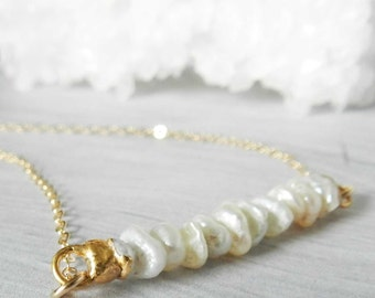 Pearl Necklace, Keshi pearl, Gold Necklace, Gold dipped, Gift For Her