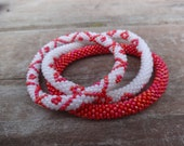 Set of Three Metallic Red and Ivory WhiteCrocheted Beaded Bracelet, Handmade in Nepal, Seed Beads, BS303