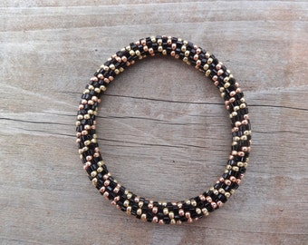 Sparkly Permanent Finished Galvanized Rose Gold, Gold and Black Bead Bracelet,Japanese Seed Beads,Nepal,JB30