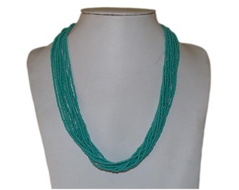 Turquoise Blue Multi-Strand Seed Beads Necklace,Nepal