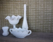 Instant Collection, Vintage Fenton Hobnail Collection, Milk Glass Vase and Bowl, Shabby Chic Decor