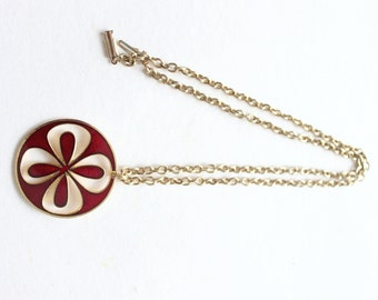 1970s de Passille-Sylvestre Red Enamel Medallion Pendant Necklace with goldtone chain