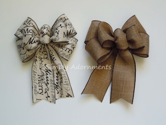 Rustic Burlap Ivory Christmas Bow Vintage Merry Christmas Scripts Bow Christmas Wreath Swag Bow Christmas Gifts Bow Vintage Rustic door bow