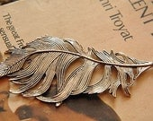 5pcs  antique silver    plating  feather  connector   pendant finding