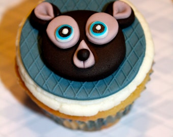 BLACK BEAR -  Fondant Cupcake, and Cookie Toppers - 1 Dozen