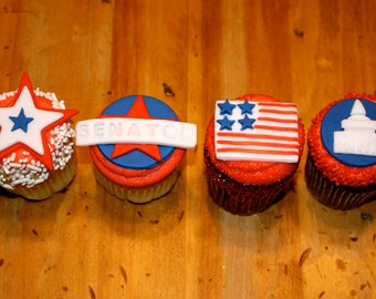 PATRIOTIC / CAMPAIGN  -  Fondant Cupcake, and Cookie Toppers - 1 Dozen