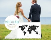 Wedding Guest Book Watercolor  World Map - Custom Color - Add Quote, Date - Wedding Decor - Personalized Guest Book Map - Noir Color
