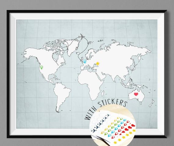 Articles Similaires Monde Carte Poster Print Avec Pins