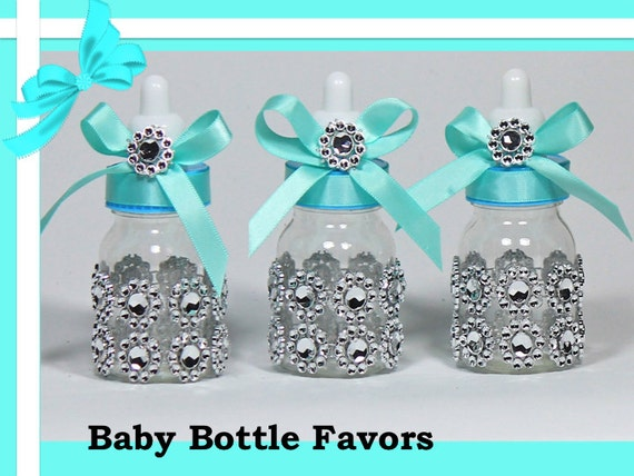teal baby bottles baby shower favors candy containers baby shower