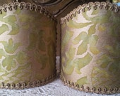 Pair of  Wall Sconce Clip-On Shield Shades Fortuny Fabric Bayou Green & Gold Orsinii Pattern Half Lampshade - Handmade in Italy